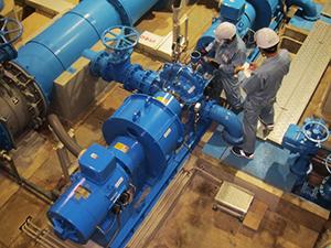 送水ポンプの温度・振動測定